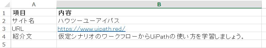 Excel内情報、キーと値のペア